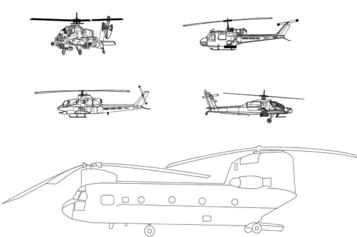 دانلود پروژه آماده اتوکد طرح دو بعدی اتوکد ۵ مدل هلیکوپتر