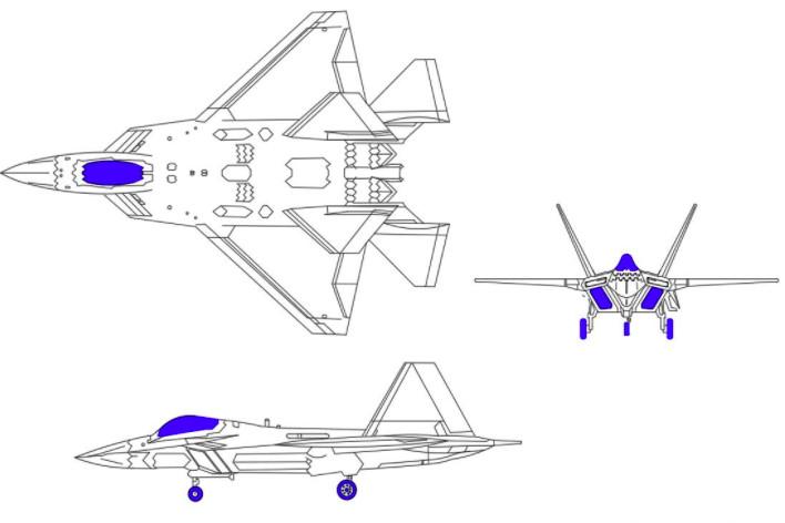 دانلود پروژه آماده اتوکد طرح دو بعدی اتوکد جت جنگنده F-22 raptor hunting