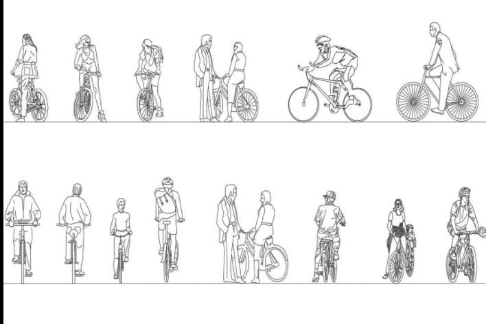 دانلود پروژه آماده اتوکد طرح دو بعدی اتوکد مردم دوچرخه سوار
