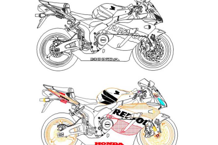 دانلود پروژه آماده اتوکد طرح دو بعدی موتور هوندا Honda CBR 1000