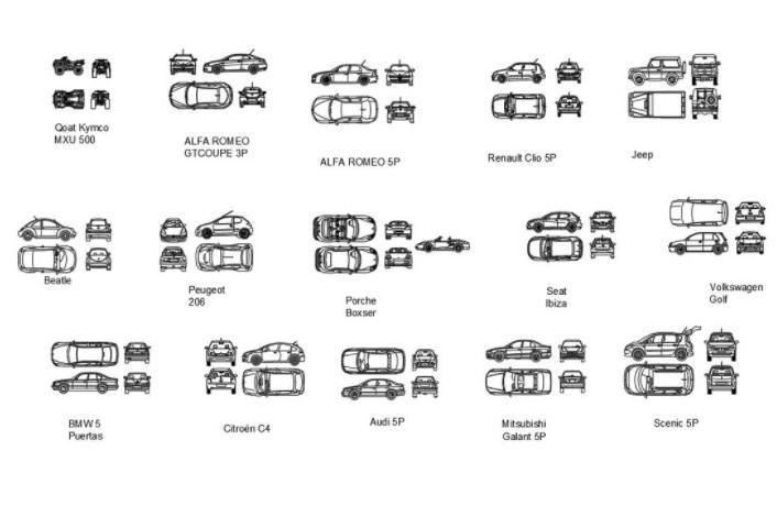 دانلود پروژه آماده اتوکد طرح دو بعدی چندین ماشین