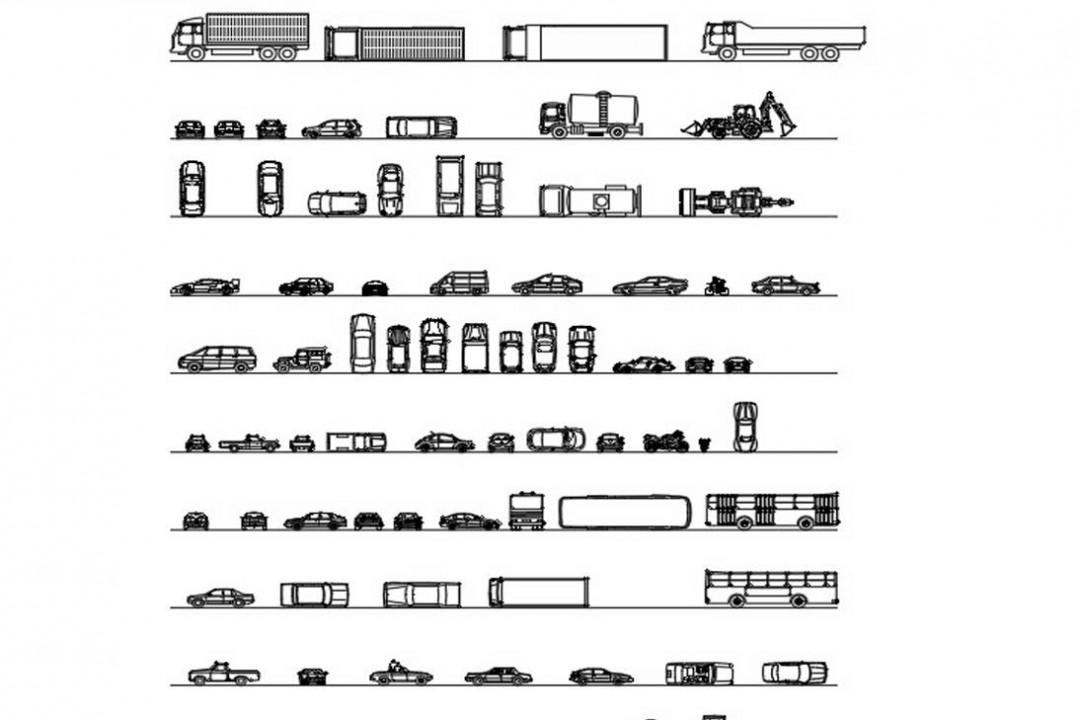 دانلود پروژه آماده اتوکد طرح دو بعدی انواع ماشین ها برای نقشه