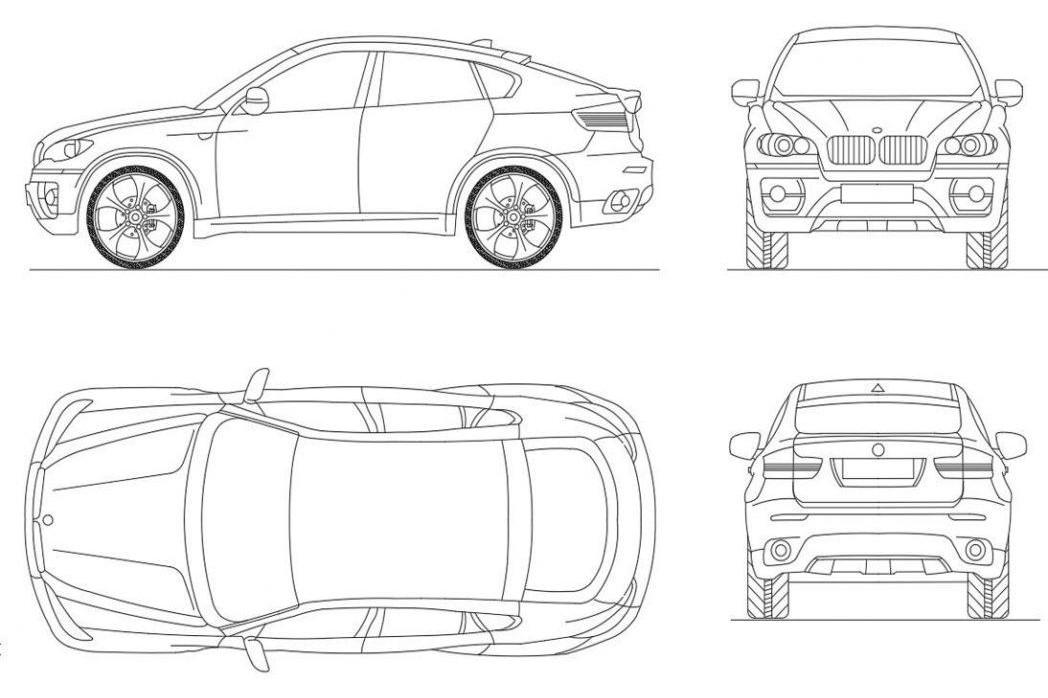 دانلود پروژه آماده اتوکد طرح دو بعدی ماشین بی ام و ایکس ۶ BMW X6