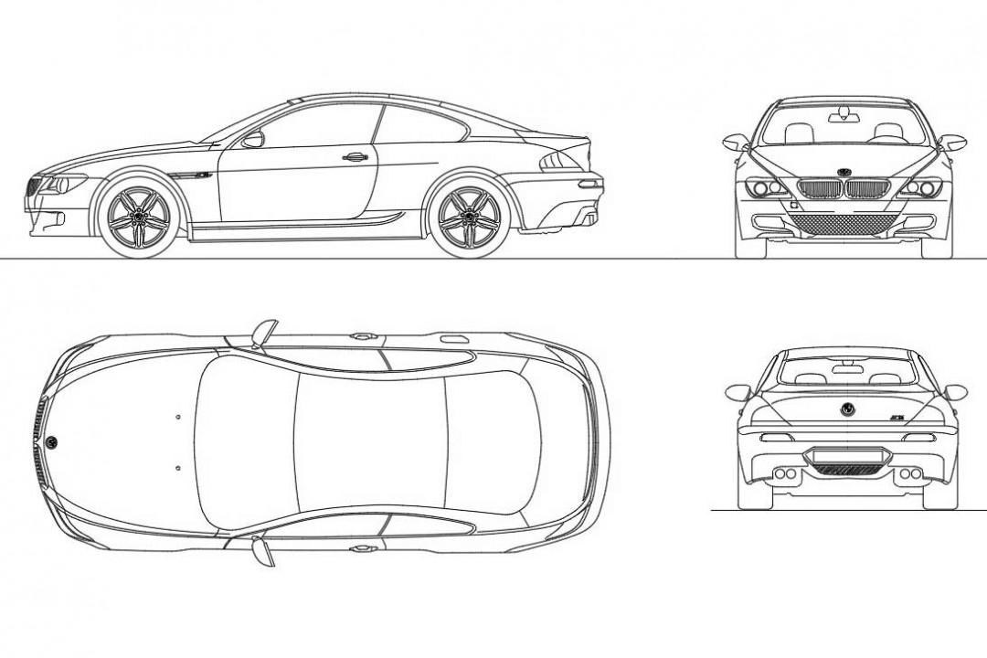 دانلود پروژه آماده اتوکد طرح دو بعدی ماشین بی ام و ام ۶ Bmw M6