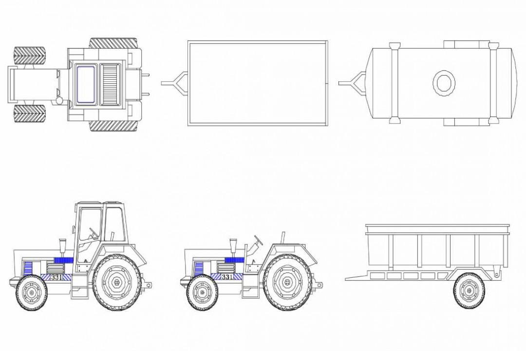 دانلود پروژه آماده اتوکد طرح دو بعدی ماشین تراکتور