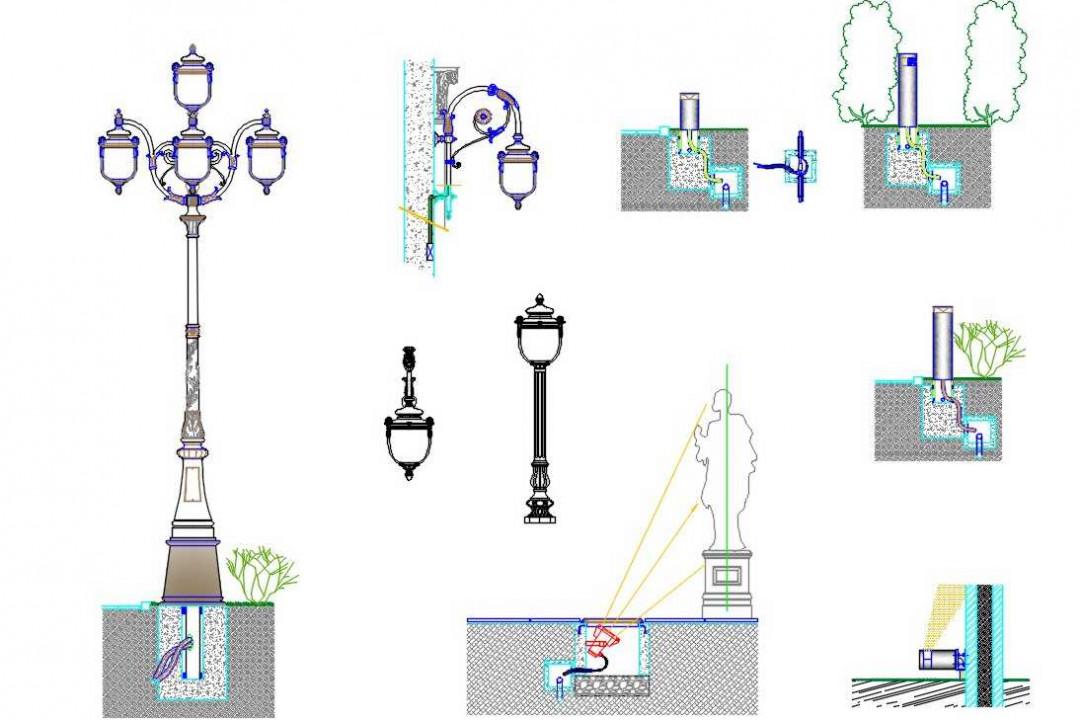دانلود پروژه آماده اتوکد طرح دو بعدی مجموعه چراغ شهری