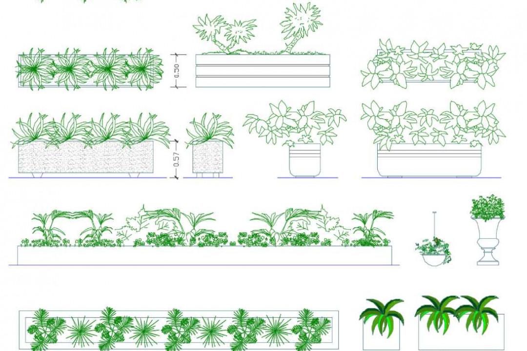 دانلود پروژه آماده اتوکد طرح دو بعدی مجموعه گل و باغچه