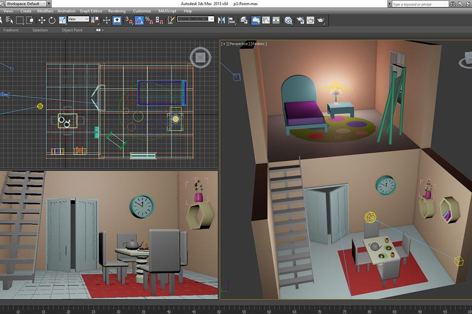 مدلسازی اتاق و آشپرخانه مبتدی 3D Max