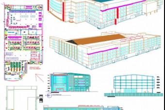 دانلود پروژه آماده طرح سه بعدی اتوکد ساختمان کارخانه با جزئیات کامل