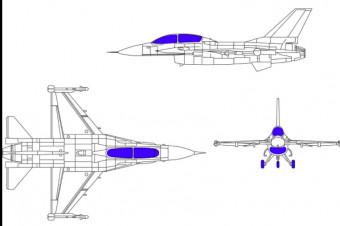 دانلود پروژه آماده اتوکد طرح دو بعدی اتوکد جت جنگنده Fighter plane F-16c
