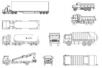 دانلود پروژه آماده اتوکد طرح دو بعدی مجموعه کامیون ها