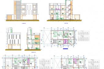 دانلود پروژه آماده اتوکد طرح دو بعدی خانه آپارتمان ۳ طبقه