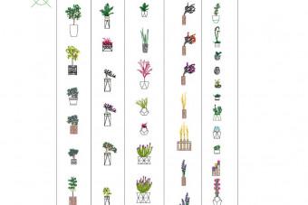 دانلود پروژه آماده اتوکد طرح دو بعدی مجموعه گل و گلدان برای طراحی داخلی