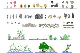 دانلود پروژه آماده اتوکد طرح دو بعدی مجموعه درخت و گیاهان