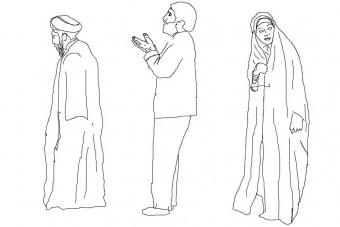 دانلود پروژه آماده اتوکد طرح دو بعدی مردم مسجد و نماز