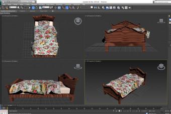 مدل تخت چوبی 3D Max